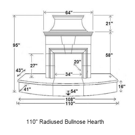 110 radiused bullnose hearth