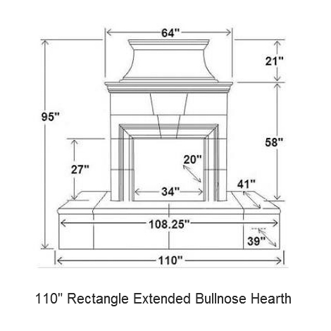110 rectangle extended bullnose hearth