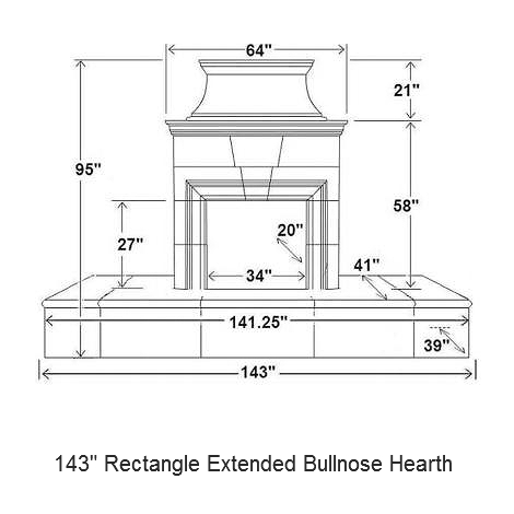 143 rectangle extended bullnose hearth