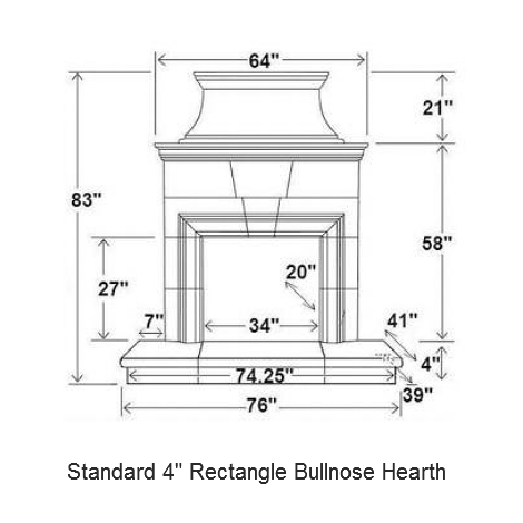 4 rectangle bullnose hearth