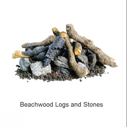 beachwood logs and stones