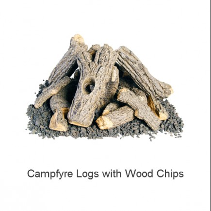 campfyre logs with wood chips