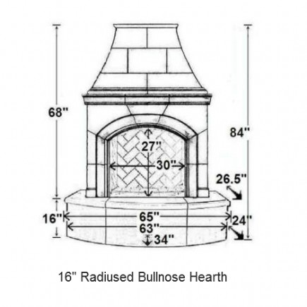 16 radiused bullnose hearth
