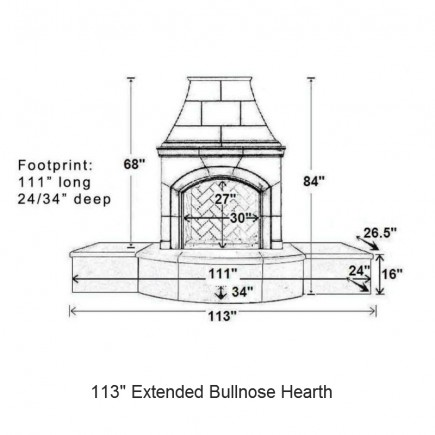 113 extended bullnose hearth