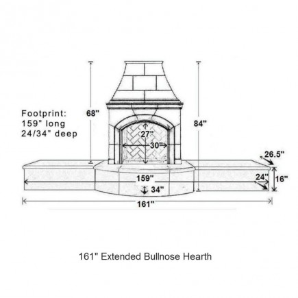 161 extended bullnose hearth