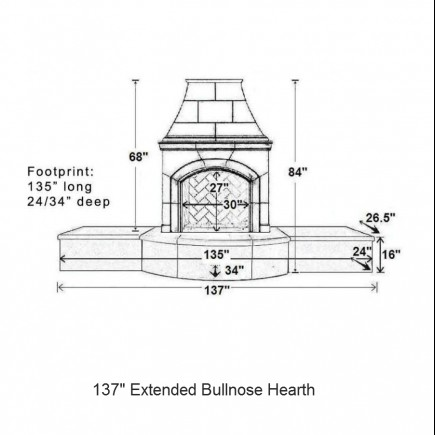 137 extended bullnose hearth