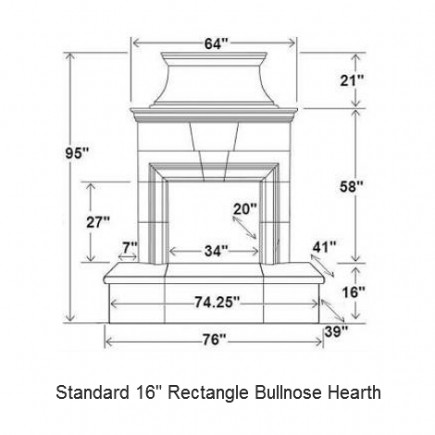16 rectangle bullnose hearth