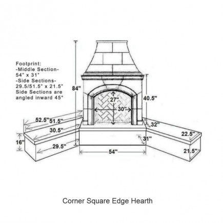 corner square edge hearth