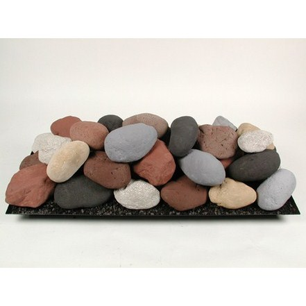 "36"" Ceramic Fire Stones Set Black/White/Beige"