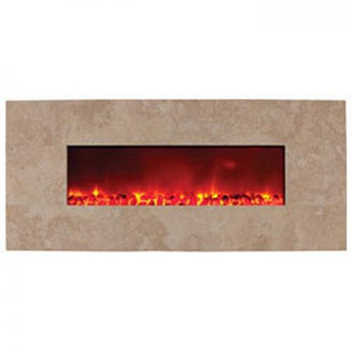 "38"" Electric Fireplace w/ Honey Travertine"