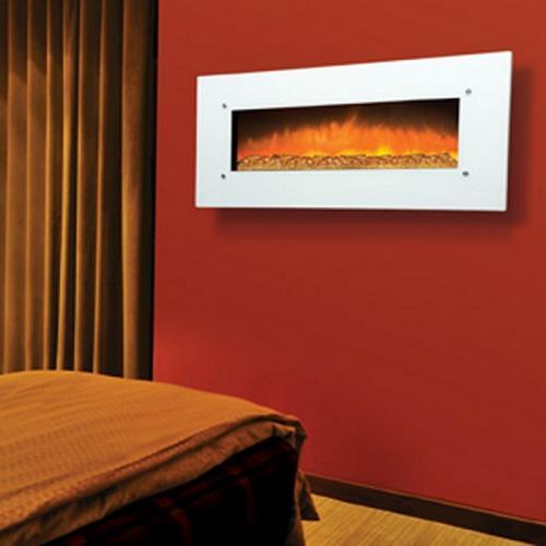 "50"" Electric Fireplace w/White Glass"