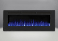 flames set on blue fireplaces