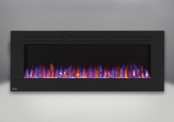 flames set on combined orange and blue fireplaces