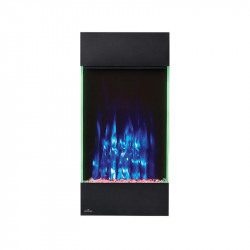 allure vertical shown with blue flame color red ember bed lights and accent side lights on green
