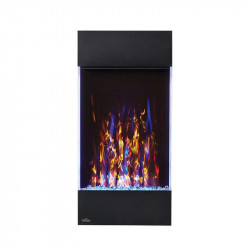 allure vertical shown with multi flame color blue ember bed lights and accent side lights on white