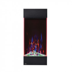allure vertical shown with multi flame color green ember bed lights and accent side lights on red