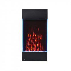 allure vertical shown with orange flame color white ember bed lights and accent side lights on blue