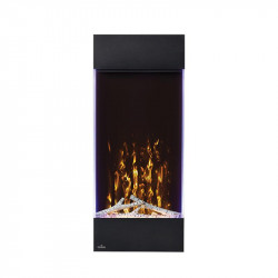 allure vertical shown with yellow flame color yellow ember bed lights and accent side lights on purple