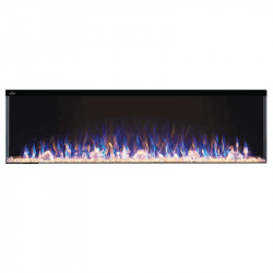 trivista 60 3 sided shown with multi color flame and orange ember bed