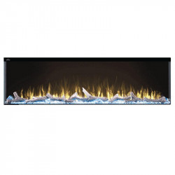 trivista 60 3 sided shown with yellow flame and light blue ember bed