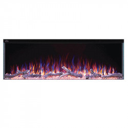 trivista 50 3 sided shown with multi color flame dark orange ember bed and purple accent