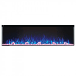 trivista 60 3 sided shown with blue flame and pink ember bed
