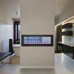 clearionelectricfireplacestainlesssteelsurroundblueflamesroom