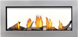 38 see thru shown with logs shore plus beach in stainless steel surrounding