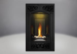 phazer log set traditional facing kit painted metallic black mirro flame porcelain reflective radiant panels night light