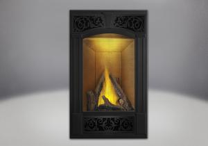 phazer log set traditional facing kit painted metallic black sandstone brick panels night light