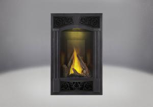 phazer log set traditional facing kit pewter finish mirro flame porcelain reflective radiant panels night light