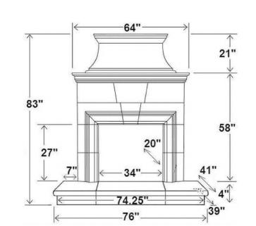 "Standard 4"" Rectangular Bullnose Hearth [RC]"
