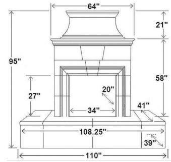 """110"""" Rectangle Extended Bullnose Hearth"""