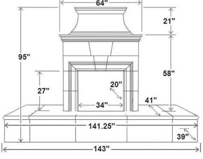 """143"""" Rectangle Extended Bullnose Hearth"""