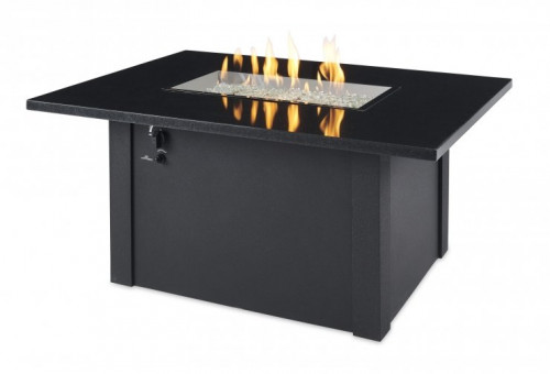 Black Grandstone Rectangular Gas Fire Pit Table