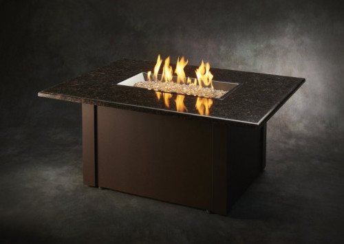 Brown Grandstone Rectangular Gas Fire Pit Table