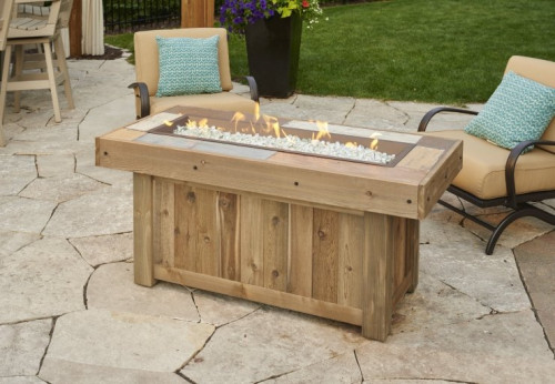 Vintage Linear Gas Fire Pit Table