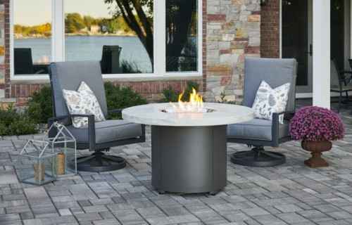 White Onyx Beacon Dining Height Gas Fire Pit Table