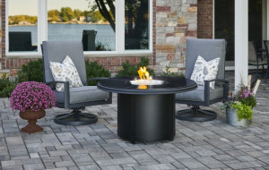 Black Granite Beacon Chat Height Gas Fire Pit Table
