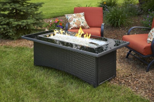 Black Montego Linear Gas Fire Pit Table