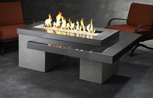 Black Uptown Linear Gas Fire Pit Table