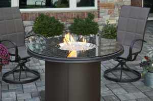 Brown Granite Beacon Dining Height Gas Fire Pit Table