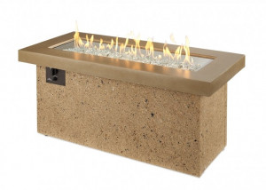 Brown Key Largo Linear Gas Fire Pit Table