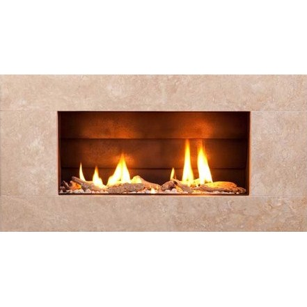 ST900 Gas Fireplace - Natural Travertine Stone Front